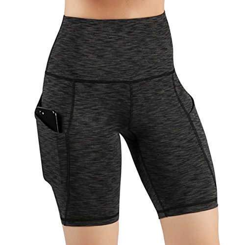 ODODOS High Waist Out Pocket Yoga Shots Tummy Control Workout Running 4 Way Stretch Yoga Shots,SpaceDyeCharcoal,Large