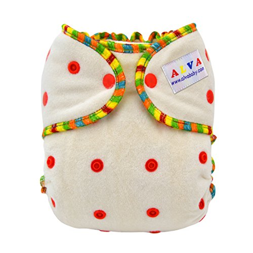 Fitted Diaper Cloth (ALVABABY One Size Cute Bamboo Fitted Diaper Fits Under 28lbs FT01)