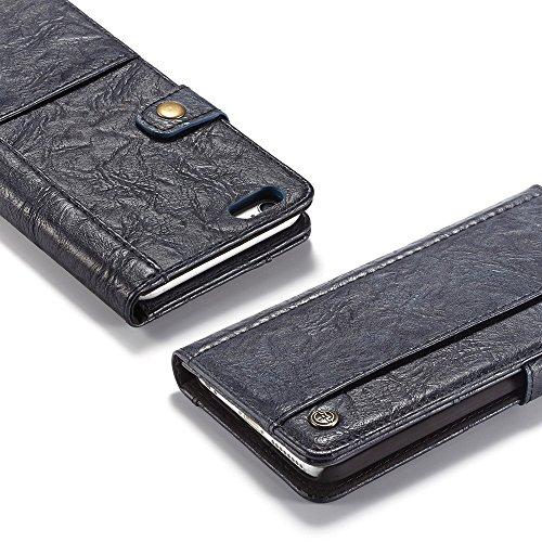 Grandcaser Funda para iPhone 6 Plus/6s Plus 5.5,Rugged Armor Premium Cuero Book Style Protectora Flip Wallet Billetera Carcasa con Porta Tarjetas y Ranura Case Cover - Negro Azul