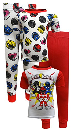 Power Rangers 4 Piece Cotton Toddler Pajamas for Little Boys (4T) (Power Ranger Clothes)