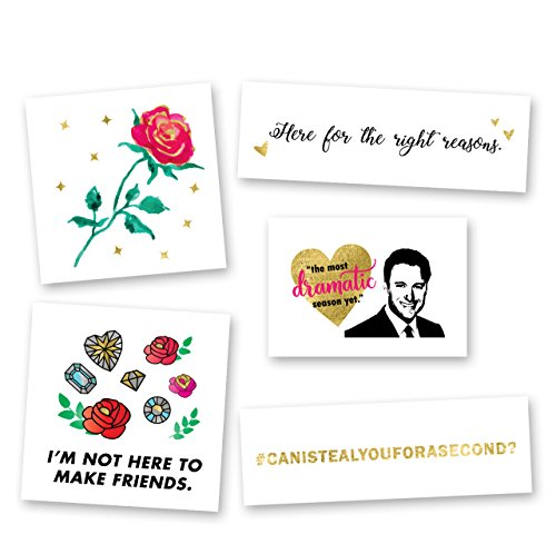 BACHELOR NATION VARIETY SET includes 25 assorted premium colorful waterproof metallic gold, silver & multi-colored bachelor inspired temporary foil Flash Tattoos - party supplies, the bachelor