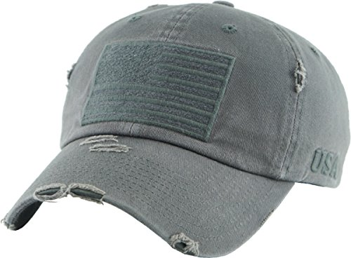 - KBVT-209 DGY Tactical Operator with USA Flag Patch US Army Military Baseball Cap Adjustable