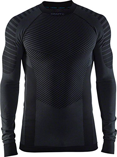 Craft Sportswear Men's Active Intensity Running and Training Fitness Workout Outdoor Sport Base Layer Long Sleeve Shirt, Black/Granite, Large