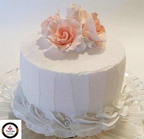 Dezicakes Fake Wedding Cake Peach Roses Faux Cake Prop White with Peach Prop by Dezicakes
