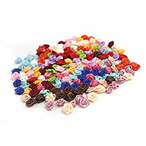 SODIAL 100PCS/Lot Mini Handmade Satin Ro Ribbon Rottes Fabric Flower Appliques For Wedding Decoration Craft wing Accessories 5