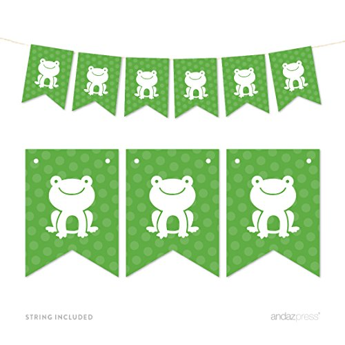 Andaz Press Hanging Pennant Party Banner with String, Frog, 9-Feet, 1-Set, Decor Paper Decorations, Includes -