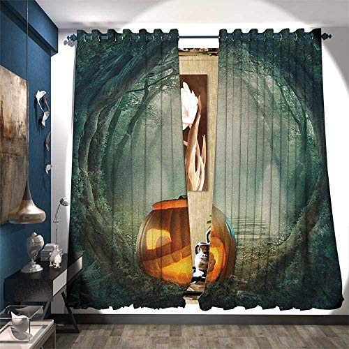BlountDecor Window Curtain Drape Drawing of Scary Halloween Pumpkin Enchanted Forest Mystic Twilight Party Art Drapes for Living Room W72 x L108 Orange Teal -