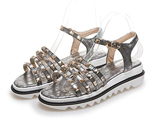 Sandales Sandales Confort 41 PU xie de pour 34 Rivets 5cm antidérapantes Dames Plage à tqOzd
