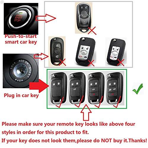First2savvv Black Premium Soft TPU Car Key Case Shell Cover with Key Chain for Chevrolet Camaro Cruze Equinox Malibu Orlando Sonic Spark
