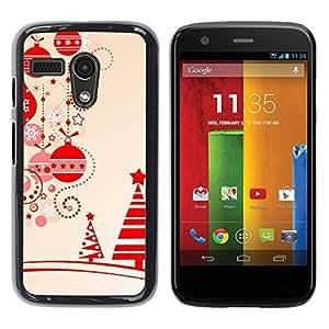 Paccase / SLIM PC / Aliminium Casa Carcasa Funda Case Cover para - Beige Christmas Winter Merry Tree - Motorola Moto G 1 1ST Gen I X1032