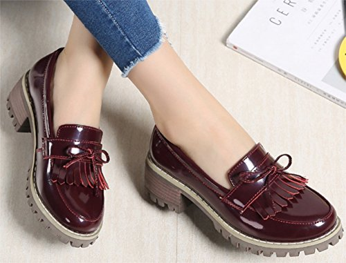 Noir Mary Femme Jane Derby Chaussures Rouge PPXID Chaussures Classic vF0Aw