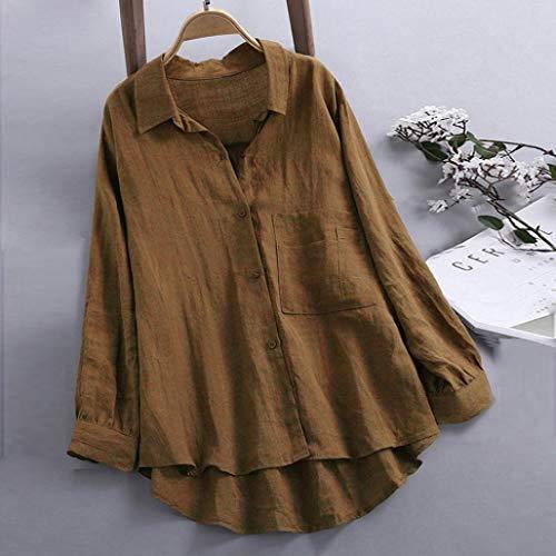 Chic Lin Blouse Chemise Caf Casual Bouton Longues Femme Vetement Tops SANFAHSION Manches Shirt 5zASq0Zx