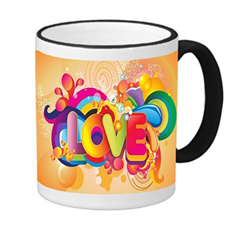 Protective Vinyl Decal Design Colorful love Quote Printed Sticker 11 ounce Black Rim/Handle Ringer Ceramic Coffee Mug Tea Cup by Smarter Designs