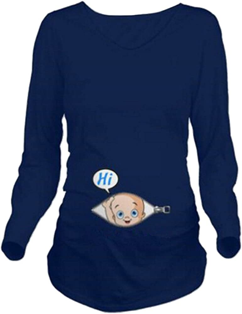 Q.KIM Camiseta Divertido Estampada de Sin Mangas/Manga Corta/Manga Larga premamá para Mujer Embarazo Lactancia T-Shirt