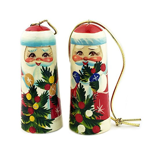 Set of 2 Hand Painted Wooden Russian Christmas Ornaments Santa Claus 3 Inch