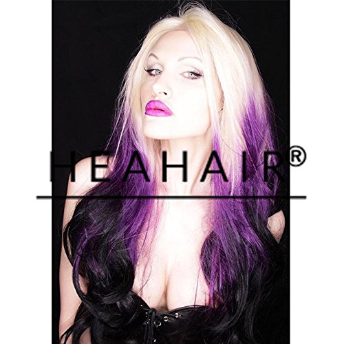 [Heahair® Ombre Triple Blonde Purple Black Body Wave Handtied Synthetic Lace Front Wig for Cosplay] (Fancy Dress Hollywood Themed Costumes)