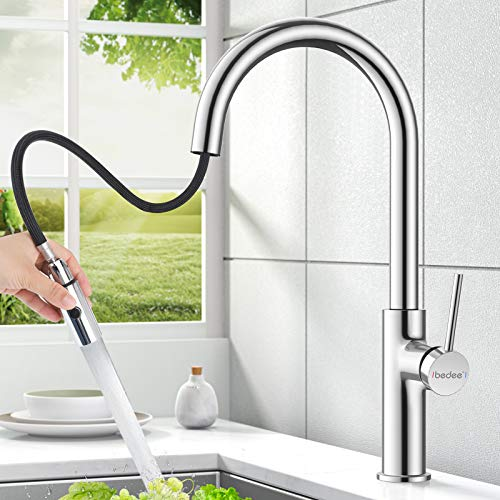 Mixer Tap for Kitchen Sink, Kitchen Sink Tap, 360° Swivel, Spout 304 Stainless Steel Pull Down Sprayer, Single Handle Hot and Cold Water Sink Taps for Kitchen Bathroom Cloakroom Balcony Laundry