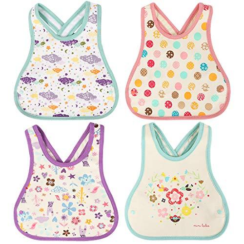 KF Baby 4pc Soft Waterproof Cotton Absorbent Wrap Snap Lock Drooler Bibs Set (Pullover Cotton Bib)