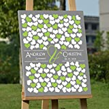 Modern Canvas Wall Art for Wedding Personalized Guest Book Framed Ready to Hang on the Wall Custom Wedding Guest Book Alternative with 150 Hearts for Guests Sign In Personalized Wedding Anniversary