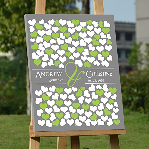 Modern Canvas Wall Art for Wedding Personalized Guest Book Framed Ready to Hang on the Wall Custom Wedding Guest Book Alternative with 150 Hearts for Guests Sign In Personalized Wedding Anniversary by Larmai