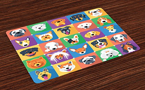 Ambesonne Dog Place Mats Set of 4, Dog Breeds Profiles Pets Shepherd Terrier Labrador Domestic Animals Illustration, Washable Fabric Placemats for Dining Room Kitchen Table Decor, Purple Green -