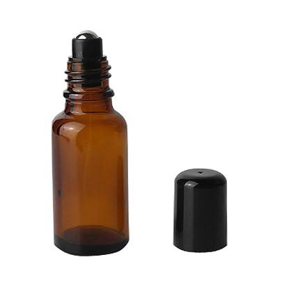 3pcs marrón de cristal Roll On botellas con acero inoxidable Roller pelotas y negra Tapa –