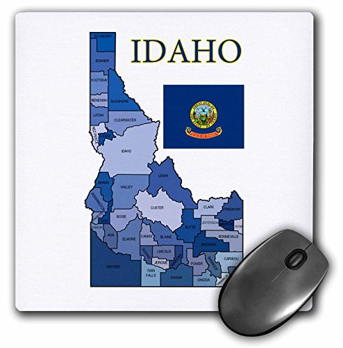 "3dRose Colorful County Map of Idaho with Flag & Counties Labeled Mouse Pad, 8"" x 8"" (mp_181329_1)"