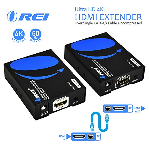 (OREI UltraHD 4K HDMI Extender Over Single CAT6A/CAT7 Cable Uncompressed 4K @ 60Hz with IR - Up to 100 Ft)