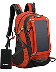 ECEEN Solar Powered Backpack Pack Sun Charged Hiking Backpack with 10 Watts Solar Charger Panel & 10k mAh Battery...