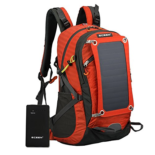 ECEEN Hiking Backpack Removable Frame Pack with 10W Foldable Solar Phone Charger, 10000mAH Battery Pack, 2L Water Bladder, Rain Cover for Camping Mountaineering Climbing Voyage Outdoor Sports