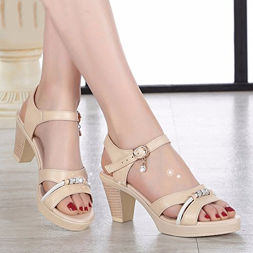 No. 55 Shoes Estate Tacco Ruvida Lady Sandali Mostra Sottile Impermeabile AD Alta Scarpe Tacco,US5.5/EU/36/UK3.5/CN35,Beige