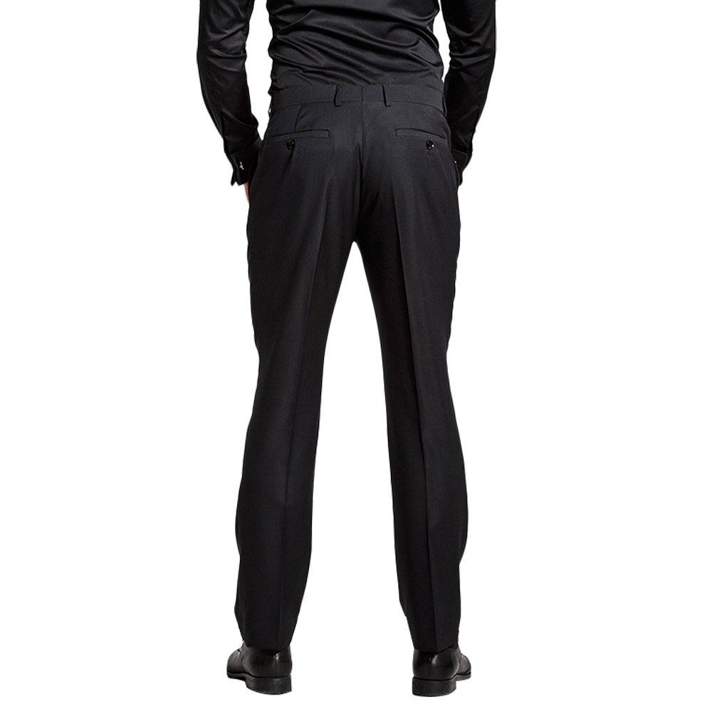 HBDesign Mens 2 Piece 1 Button Peak Lapel Slim Fit Double Breasted Tux Black