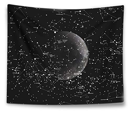 (Uphome Moon Zodiac Tapestry, Antique Black Star Galaxy Wall Tapestry Constellation Map Fabric Wall Hangings Wall Art Hanging Decor, 51