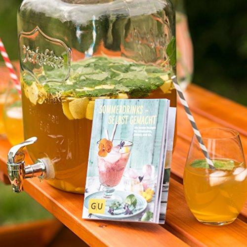 Levivo Dispensador de bebidas de vidrio, con grifo, ideal para el minibar de casa / exclusivo folleto GU Sommerdrinks - selbst gemacht gratis con el ...