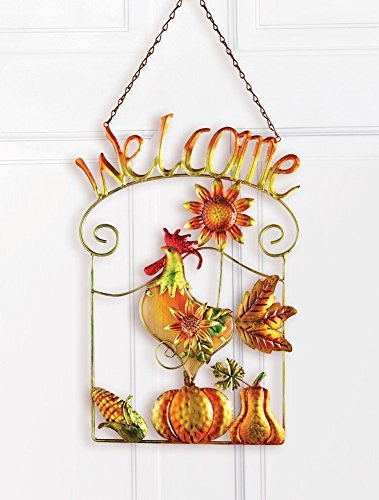 (Rooster Welcome Hanging Door Sign)