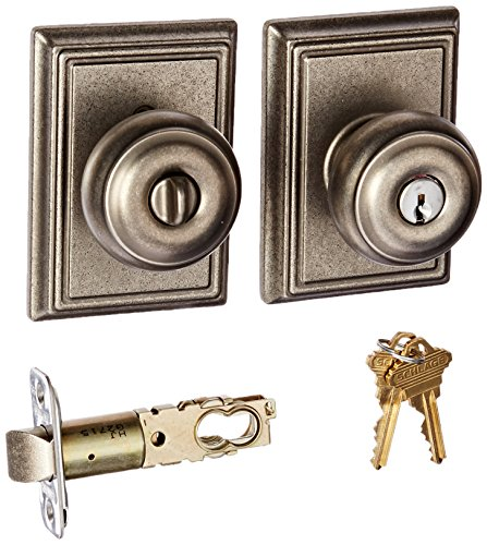 Schlage Panic Hardware (Schlage Lock Company F51AGEO621ADD Distressed Nickel Georgian Keyed Entry F51A Panic Proof Door Knob with Addison Rosette)