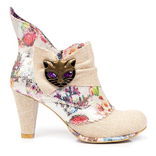 Heel Cute Choice Ankle High Miaow Pastel Boots Irregular Punk Vintage Cream Floral Cat xTd8IIqvw