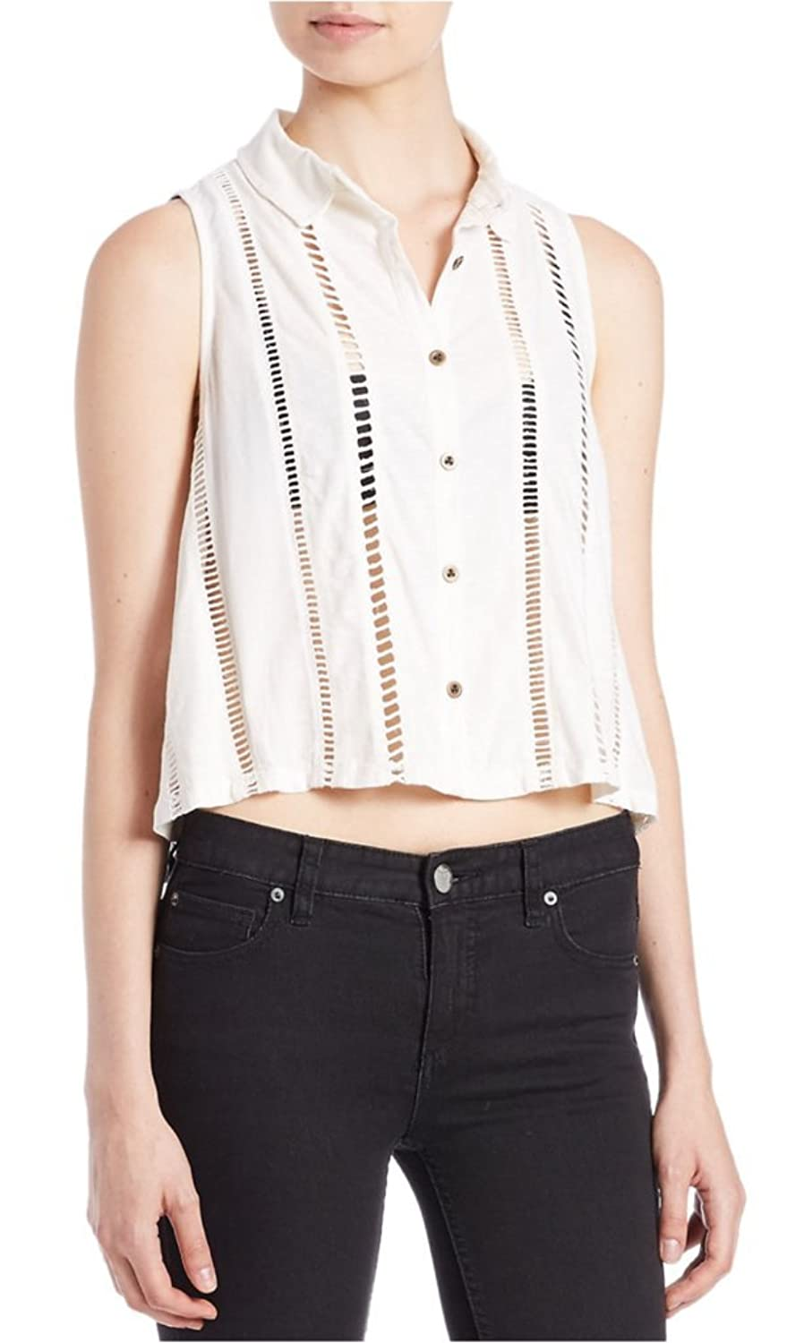 Free People Womens Open Stitch Crop Button-Down Top