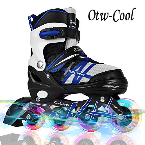 Otw-Cool Adjustable Kids and Adults Rollerblades with All Wheels Light Up, Safe and Durable Inline Roller Skates for Girls and Boys, Men and Ladies, Large-Youth (5-8 Us), Blue (Roller Skates Girls Size 7)