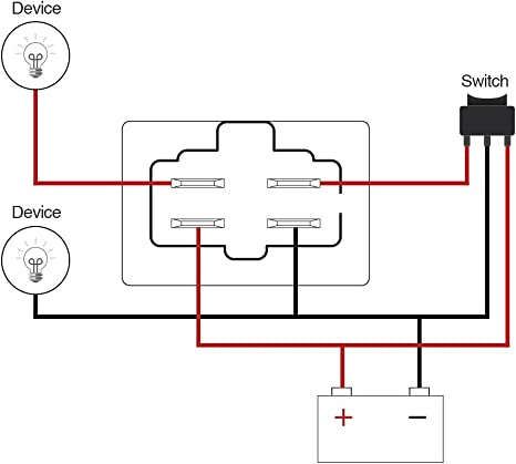 Amazon.com: MICTUNING LED Light Bar Work Light Wiring Harness Relay 40 Amp:  Automotive | Relay Wiring Diagram 7234 |  | Amazon.com