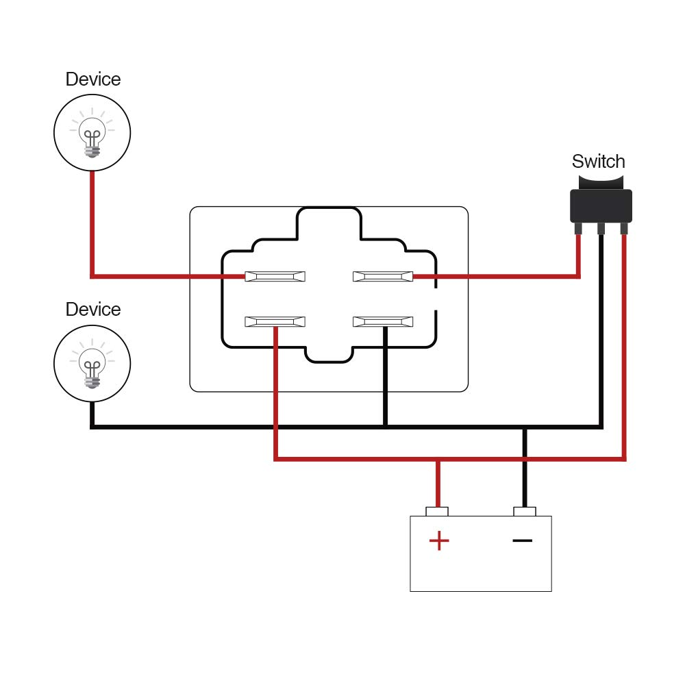 Spst 4 Way 40a 12v Relay Wiring Pin-out Diagram