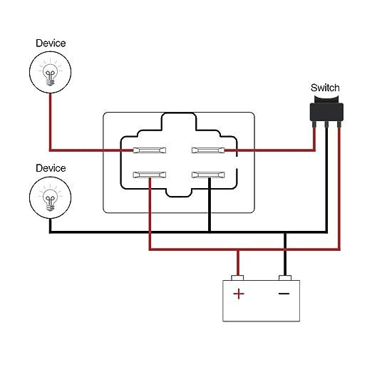MICTUNING LED Light Bar Work Light Wiring Harness Relay 40 Amp on