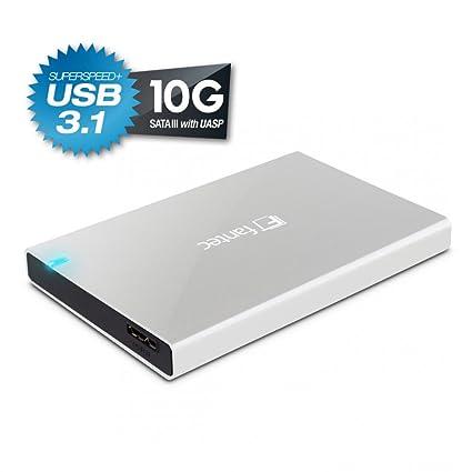 Fantec ALU-25B31 - Carcasa externa para discos duros de 6,35cm (2,5) SATA y SSD, conexión supervelocidad+ USB 3.1 de hasta 10Gibt/sy UASP, ...