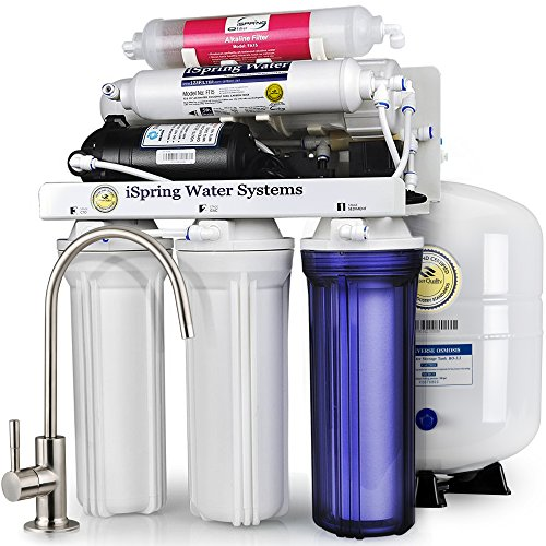 iSpring RCC7P-AK 6-Stage Maximum Performance Reverse Osmosis Drinking Water Filtration System with Booster Pump and Alkaline Remineralization Filter by iSpring