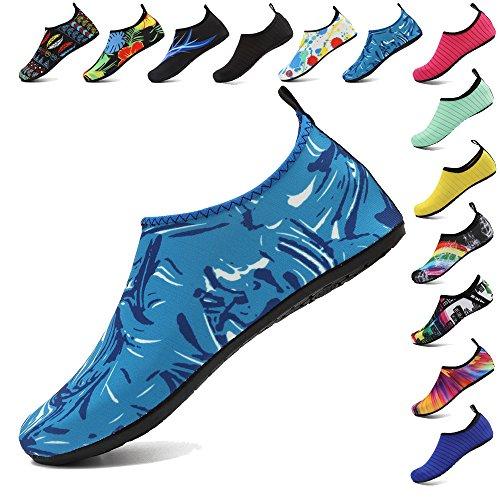 HooyFeel Women and Mens Water Shoes Barefoot Quick-Dry Skin Aqua Socks for Beach Swim Yoga Exercise Boat Water Blue
