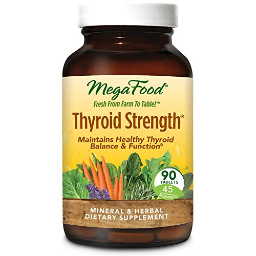 MegaFood - Thyroid Strength, Mineral and Herbal Support for Thyroid and Cardiovascular Health, Energy Levels, and Mental Cognition with Ashwagandha and L-Tyrosine, 90 Tablets (FFP) - Herbal Thyroid Support