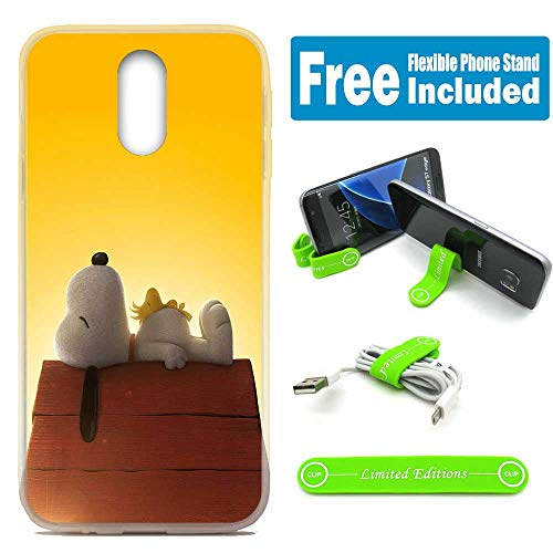 - [Ashley Cases] for LG [Aristo 3][Tribute Empire][Phoenix 3,4][Rebel 3,4][Zone 4][Risio 2,3][Fortune 2] Cover Case Skin with Flexible Phone Stand - Peanuts Snoopy Sleeping