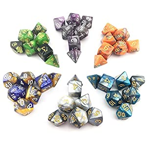 SmartDealsPro NEW ARRIVAL TWO 6 x 7 Sets(42 Pieces) Two Colors Polyhedral Dice with Free Pouches for Dungeons and Dragons DND RPG MTG Table Games D4 D8 D10 D12 D20
