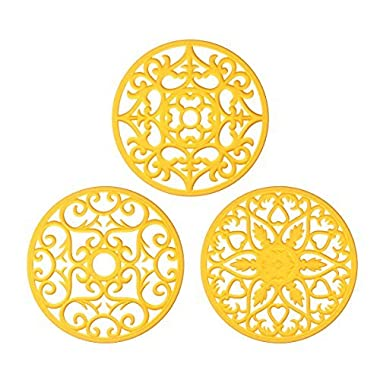 ME.FAN 3 Set Silicone Multi-Use Intricately Carved Trivet Mat - Insulated Flexible Durable Non Slip Coasters (Yellow)