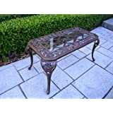 Oakland Living English Rose Cast Aluminum Cocktail Table, Antique Bronze